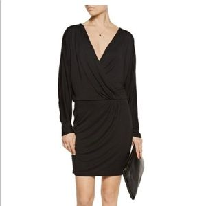 Black Wrap Effect Long Sleeve Dress